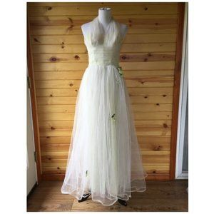 Vintage 50s Pale Green White Tulle Halter Gown L